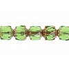Fire polished Lanterns 6mm Peridot/gold Strung Coated Ends